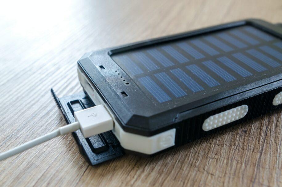 Solar power bank charging you phone
