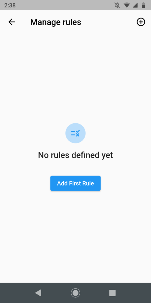 Empty rule overview dialog.
